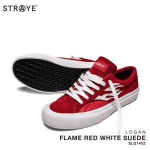 ストレイ スニーカー STRAYE LOGAN / FLAME RED WHITE SUEDE FLAME RED WHITE SUEDE Ver2(SLG1452) スケート シューズ golgoda