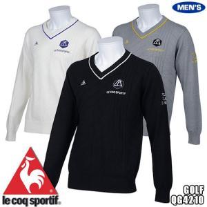 ルコック ゴルフ メンズ Vネックセーター ワッペンデザイン 温度緩和素材 QG4210