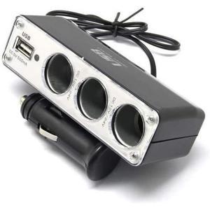 送料無料 USBポート搭載 3連シガーソケット ドラレコ GPS用 急速充電 12V 車 自動車 電源充電アダプター コード ケーブル|good-eight