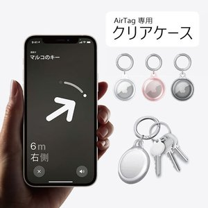 AirTag airtag 保護ケース 透明 クリア ペット 落下保護 キーリング付き good-eight