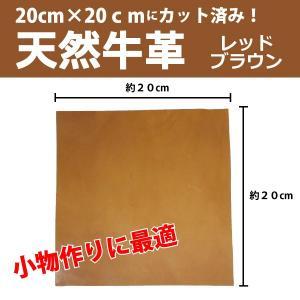 天然 牛革 本革 はぎれ カットレザー 約20cm×20cmサイズ 1枚 端材 レッドブラウン クラフト 小物アクセなどに|good-s-plus