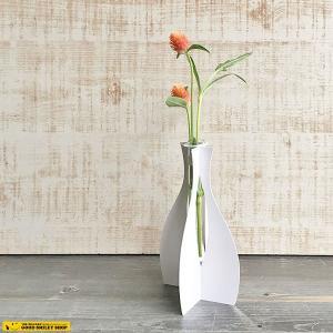 花瓶 エコ 紙製 グラス チューブ 花瓶 一輪挿し ペーパーチューブスタンド 1輪挿し ガラス フラワーベース 紙 日本製 おしゃれ|good-smiley