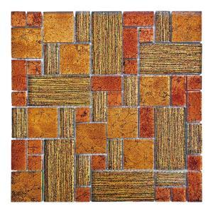 ガラスモザイクタイル 壁用 ステンドモザイク ブラウン (PTMH-3)|good-tile