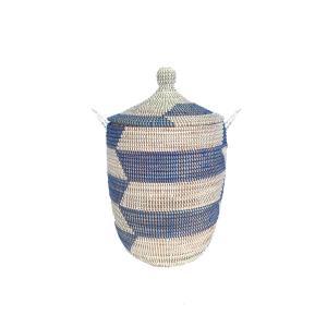 セネガルバスケット蓋付き 中 ボーダー 青×白 Mサイズ  カゴバスケット リビング シーグラス  収納 インテリア 収納用品 入れ物 good-tile
