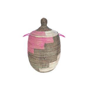 セネガルバスケット蓋付き 中 ピンク×茶×白 Mサイズ  カゴバスケット リビング シーグラス  収納 インテリア 収納用品 入れ物 good-tile