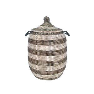 セネガルバスケット蓋付き 中 ボーダー 茶×白 Mサイズ  カゴバスケット リビング シーグラス  収納 インテリア 収納用品 入れ物 good-tile