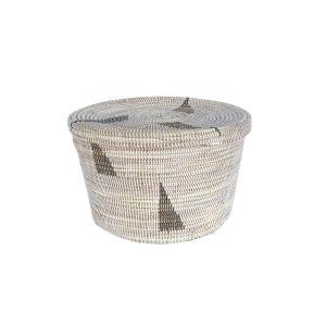 セネガル筒かご蓋付き 大 Lサイズ さんかく ランドリーバスケット  白×茶  カゴバスケット リビング シーグラス  収納 インテリア 収納用品 入れ物 good-tile