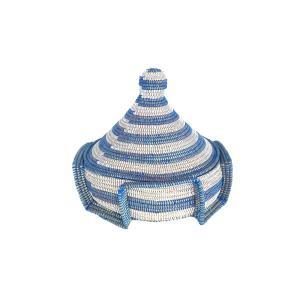 セネガル蓋付きカゴ 大 Lサイズ 白×青  カゴバスケット リビング シーグラス  収納 インテリア 収納用品 入れ物 good-tile