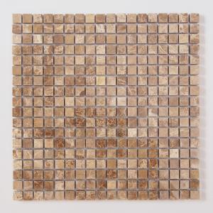 天然大理石モザイク 壁用 マロンブラウン 磨き (305MN101P) good-tile
