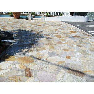 乱形石 お庭のガーデニング DIYもOK アルビノイエロー(RK07PC)0.5平米セット(0.25平米×2パック)|good-tile