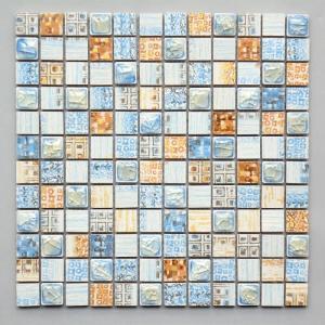 モザイクタイル キッチン・洗面所等 デコラモザイク ブルー&イエローミックス (SH007)|good-tile