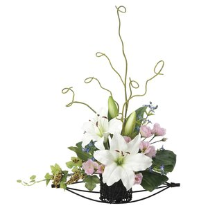 造花 アートフラワー 和風アレンジ「 美咲-カサブランカ 」 光触媒(空気清浄) インテリア植物 あすつく|goodfellow