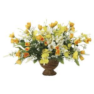 造花 アートフラワー アレンジ「ゴールデンワイド」光触媒 空気清浄 インテリア植物 89|goodfellow