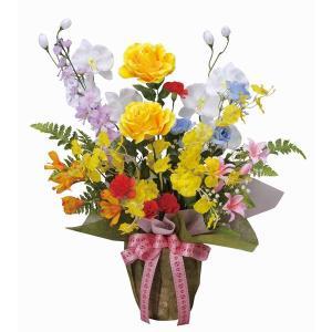 造花 アートフラワー 和風アレンジ「 開運8色アレンジ-M 」 光触媒(空気清浄) インテリア植物 87|goodfellow
