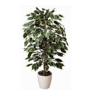 光触媒 観葉植物 鉢植え インテリアグリーン 造花 /ゴールデンフィカス 斑入り 100cm 202A15032|goodfellow