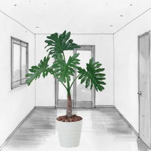 人工観葉植物 鉢植え インテリアグリーン 光触媒 造花 /セローム100cm|goodfellow