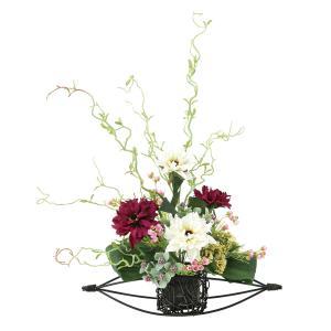 造花 アートフラワー 和風アレンジ「 丹頂-ダリア 」 光触媒(空気清浄) インテリア植物 あすつく|goodfellow
