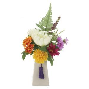 仏壇 供花 光触媒 造花の仏花アレンジ 仏花1個-器付き|goodfellow