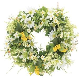 壁掛けフラワー 造花 /ミックスリース W/白系色 光触媒 空気浄化 リース ガーランド|goodfellow