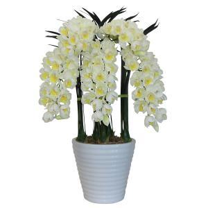 シンビジューム 光触媒/造花 鉢植え アートフラワー /Mサイズ-5本立 下垂性 H77cm(白・黄-白鉢)