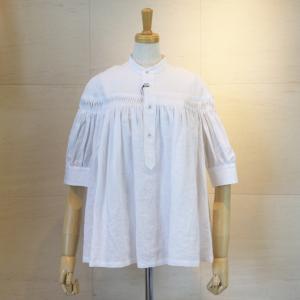 2019SS 春夏 Scye サイ Womens レディース リネン 高密度 半袖 タックシャツ ブラウス 1219-31029 col.05 ホワイト 白|goodfellows928