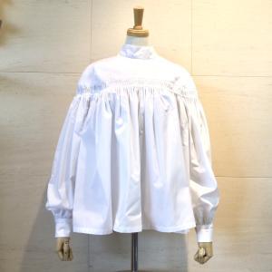 2020SS 春夏 Scye サイGIZA Cotton High Neck Pin Tuck Blouse ギザコットンハイネックピンタックブラウス  1220-31067  col.05 ホワイト|goodfellows928