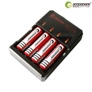 全品ポイント3倍 18650 リチウムイオン電池+ 専用充電器セット 3600mAh 18650充電池×4本 4本同時充電器 18650専用充電器 GOODGOODS