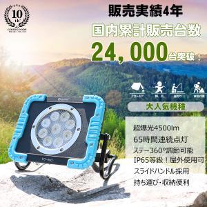 限定SALE LED投光器 充電式 作業灯 45W 強力 バッテリーライト 投光器 スタンド マグネ...