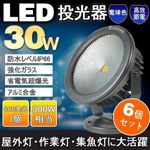 6個セット  LED 投光器 30W 300W相当 COBタイプ 昼光色/電球色 広角120度 防水 看板灯 ライトアップ 屋外照明 作業灯 駐車場灯|goodgoods-2
