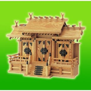 キャッシュレス還元対象 納期お問い合わせ下さい 三社神棚 国産材使用 日本製 本格手作り神棚 新ケヤキ屋根違い三社 中 組み勾欄|goodlifeshop