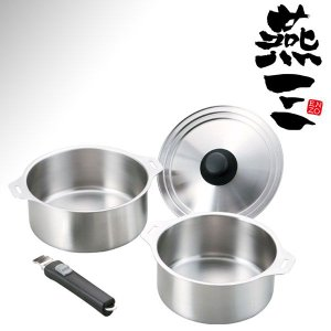 燕三 ステンレス鍋セット 鍋2点・兼用蓋・着脱ハンドル ENZO 本格日本製 IH対応 |goodlifeshop