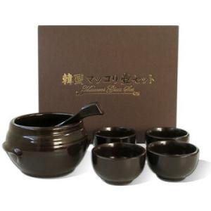 *韓国雑貨*マッコリセット・黒色(壺1個、さかずき4個、れんげ1個)|goodmall-japan