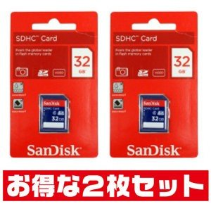 サンディスク32GB【SDHCカードSDSDB-032G-B35 x2枚セット】Class4/JAN...