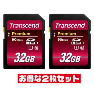 トランセンド5年保証・32GB【SDHCカードTS32GSDU1 x2枚セット】UHS-1・Clas...