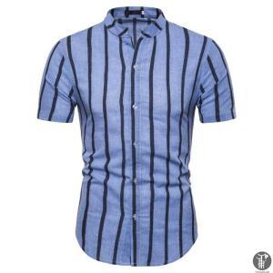 シャツ メンズ カジュアルシャツ ボタン ストライプ 半袖シャツ ビジネス Tシャツ おしゃれ ファッション カジュアル 通気性 代引不可|goodplus