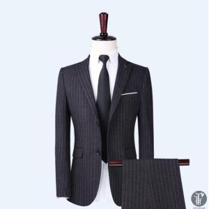 メンズ スーツ 上下セット 2つボタン ストライプ 紳士服 ジャケット パンツ スラックス セットアップ テーラード フォーマル セレモニー 出張 就活|goodplus