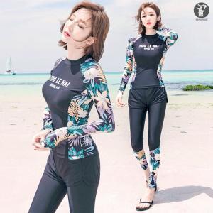 水着 フィットネス 女性 花柄 レディース プール フィットネス水着 3点セット 長袖 黒 ブラック 紫外線対策 UVカット 海 ビーチ プール 海水浴  代引不可|goodplus