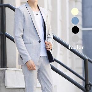 スリムスーツ スーツ メンズ スリム ビジネススーツ 一つボタン オシャレ おしゃれ 洗える テーラードジャケット スラックス 2点セット|goodplus