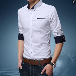 シャツ ワイシャツ Yシャツ ビジネス メンズ 長袖 ワイドカラー レギュラーカラー 無地 トップス 紳士用 代引不可|goodplus