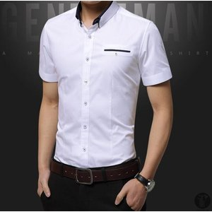 ワイシャツ Yシャツ シャツ メンズ 立ち襟 カジュアルシャツ 無地 半袖 トップス 薄手 カジュアル 大人 春夏 代引不可|goodplus