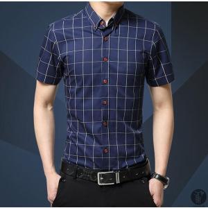 チェックシャツ ワイシャツ Yシャツ シャツ メンズ 半袖 ボタンダウン トップス レギュラーカラー 代引不可|goodplus