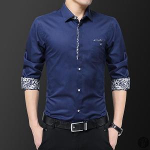 ワイシャツ Yシャツ シャツ メンズ カジュアルシャツ 長袖 プリント トップス レギュラーカラー 薄手 スリム 代引不可|goodplus