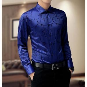 ワイシャツ Yシャツ シャツ メンズ カジュアルシャツ 長袖 プリント トップス レギュラーカラー 代引不可|goodplus