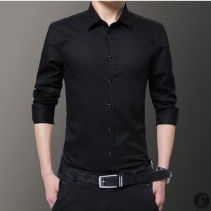 ワイシャツ Yシャツ シャツ メンズ カジュアルシャツ 長袖 プリント トップス レギュラーカラー 薄手 スリム 定番 代引不可|goodplus