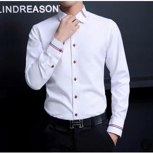 シャツ ワイシャツ Yシャツ メンズ カジュアルシャツ 長袖 無地 トップス 薄手スリム ファッション 定番 代引不可|goodplus