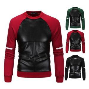 スウェットパーカー パーカー パーカ ロングTシャツ メンズ 切替 Tシャツ トレーナー 大きいサイズ 長袖 レザー Uネック クルーネック PU トレーナー インナー|goodplus