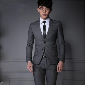スーツ 2点セット  ビジネススーツ 結婚式 大きいサイズ メンズ ビジネス ビジネス 2ツボタン シングル グレー スリム ジャケット スラックス スリムスーツ|goodplus