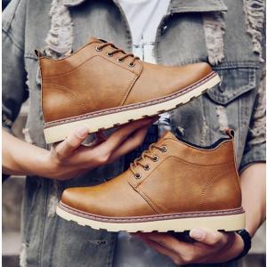 ブーツ ショートブーツ ワークブーツ 革靴 メンズ シンプル レースアップ 滑り防止 シューズ アウトドア かっこいい|goodplus