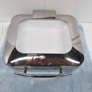 KINGO ロイヤルビュッフェ ステンレス角チェーフィング ガストロノームディッシュ2個付き J306 ガラスカバー式 1/2サイズ|goodrecyclenetshop