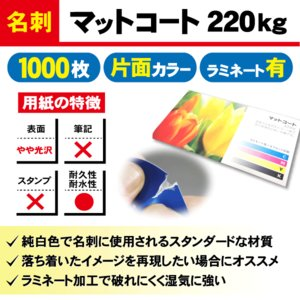 一般名刺 1000枚 片面 マットコート220kg ラミネート有り|goods-pro